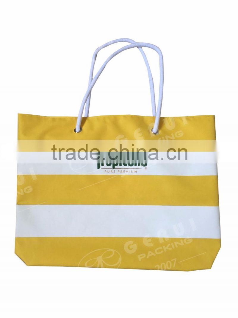 2016 wholesale promotion 300D polyester beach bag with cotton rope handle