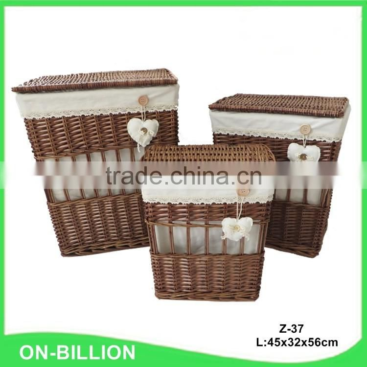 Set 3 brown rectangle wicker laundry hamper basket