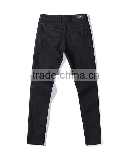 Black skinny ankle destroyed pants cool zipper biker jeans