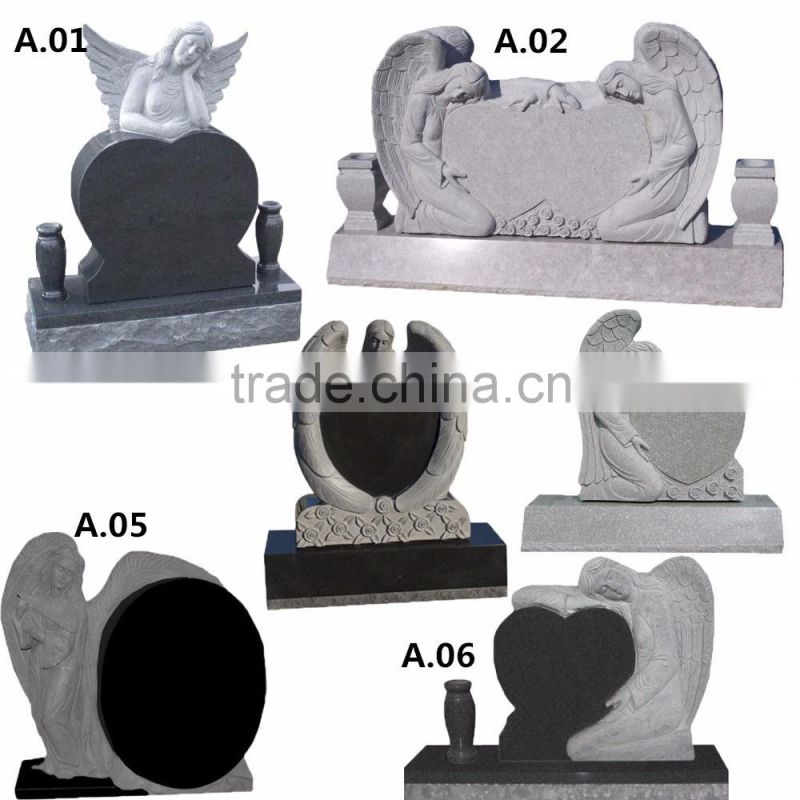 Cheap carved double heart shaped headstone multicolor granite tombstone NTGT-054L