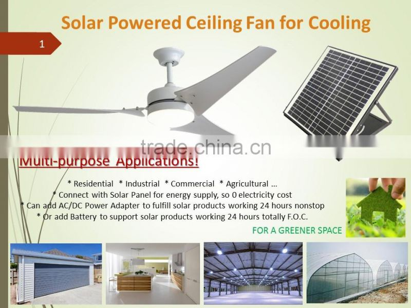 SIPL new product solar powered air cooling ceiling fan with power adapter can work 24 hours