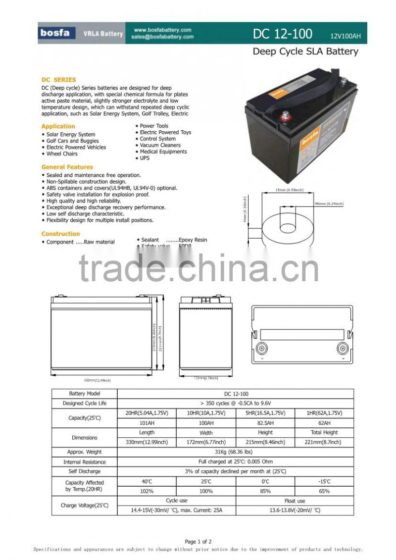 12v100ah china manufacture battery deep cycle gel battery full capacity battery