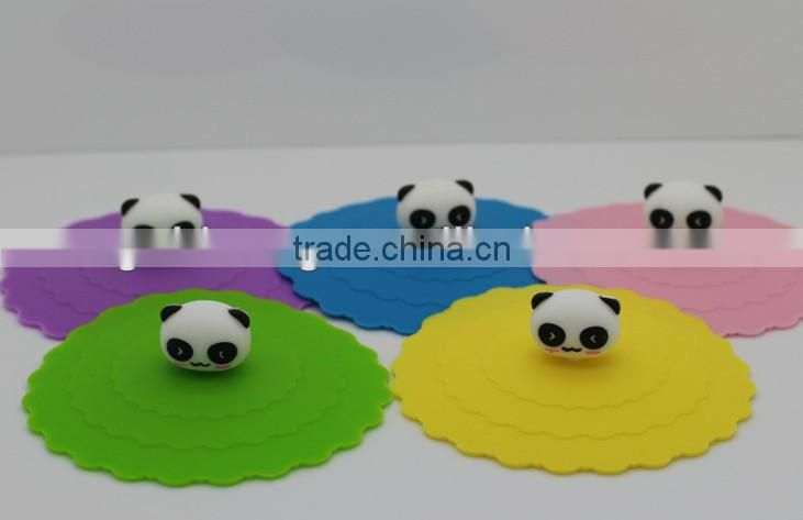 silicone mug cup cover panda handle /coffee cup lid
