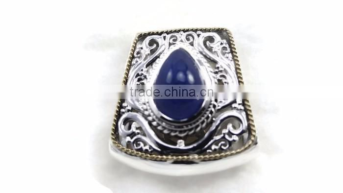 925 sterling silver rare genuine tanzanite precious gemstone slide pendant with 18K gold rope accents