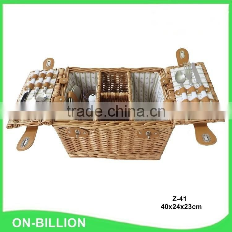 Wholesale wicker picnic basket with wine holder for 2 person