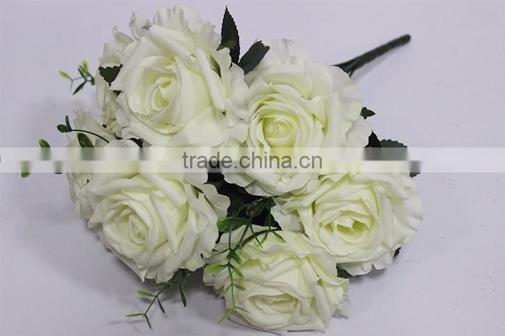 hot sale 9 heads artificial silk flowers,fake rose flowers
