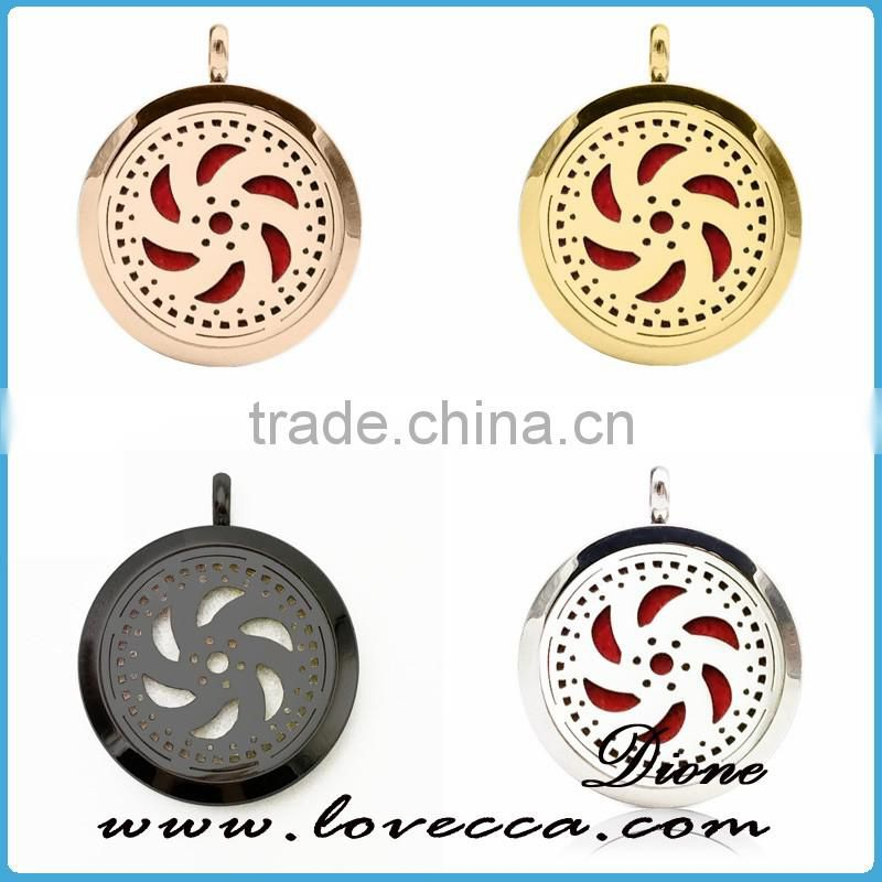 New Arrival 316L Stainless Steel Pendant 30MM Diffuser Perfume Locket Essential Oil Necklace WSD116