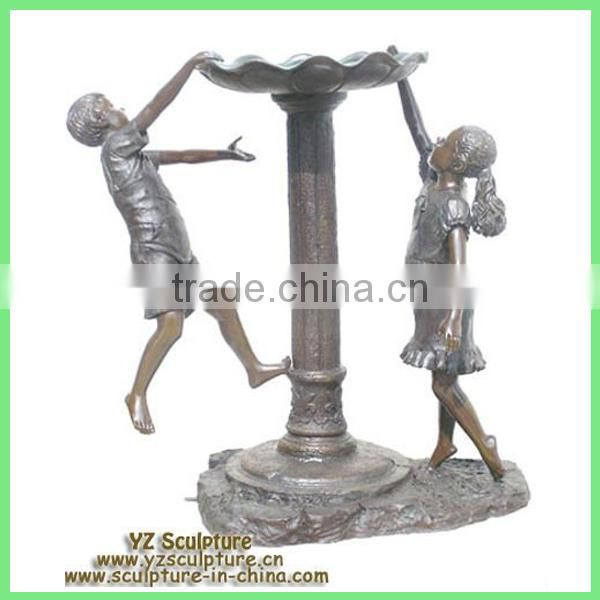 bronze boy and girl water fountain for garden decoration