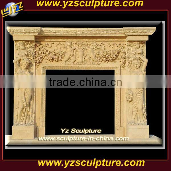 yellow marble french style fireplace mantel carving