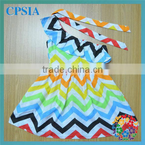 Rainbow Single Shoulder Baby Cotton Frocks Designs Girls Chevron Dress