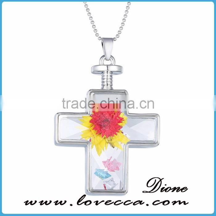 Real Flower glass jewelry flower design jewelry dried flower cross necklace