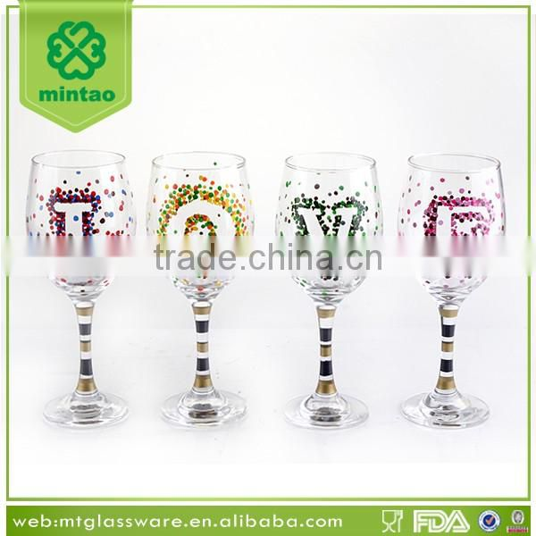 wedding party wine glass goblet with decal