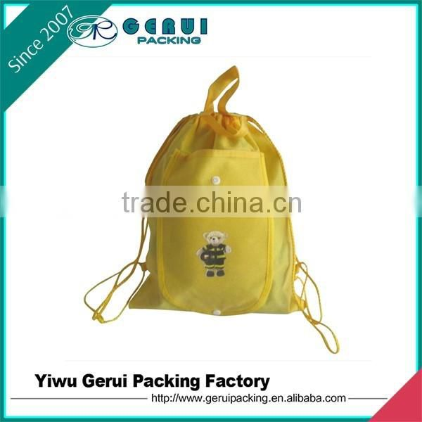 2015 high quality laminated non-woven drawstring backpack
