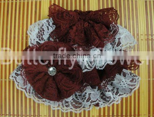 fashion silk baby lace hat with red lace flower baby cap