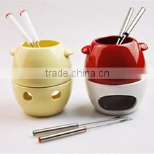 Ceramic Fondue Set in Solid Color, Heart Shape Fondue Set with Forks