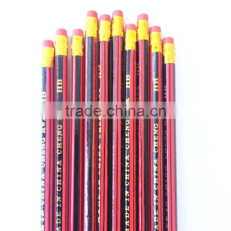 "7"" black lead hexgonal HB yellow pencil"