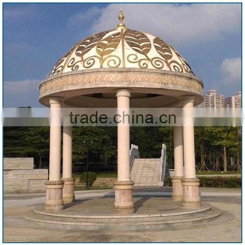 Garden Large Thai Style White Marble Gazebo with Golden Metal Leaf