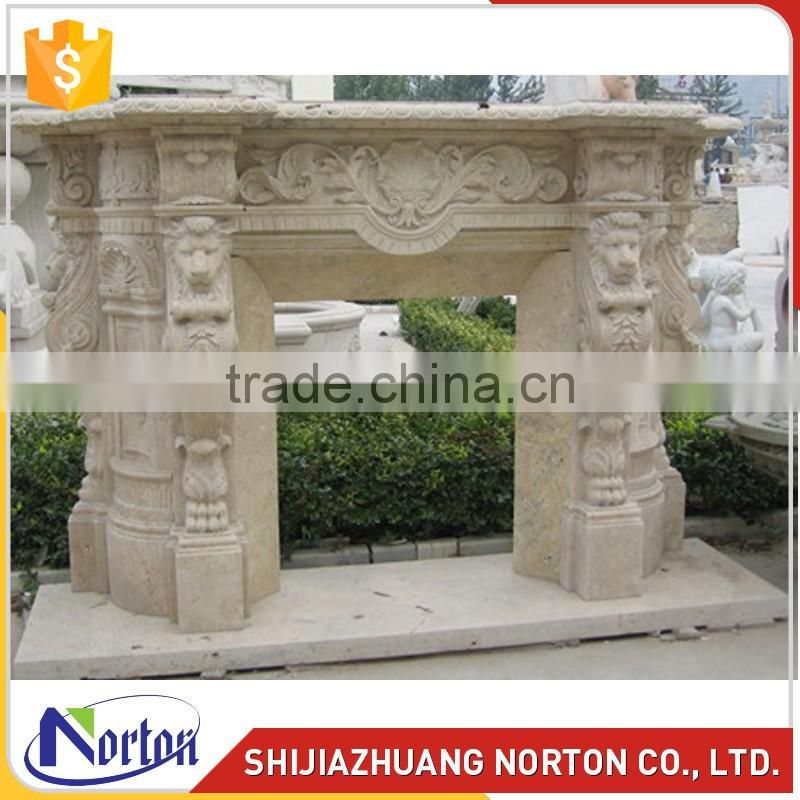 Morden hand carved fireplace travertine mantels for decor NTMF-F014LI