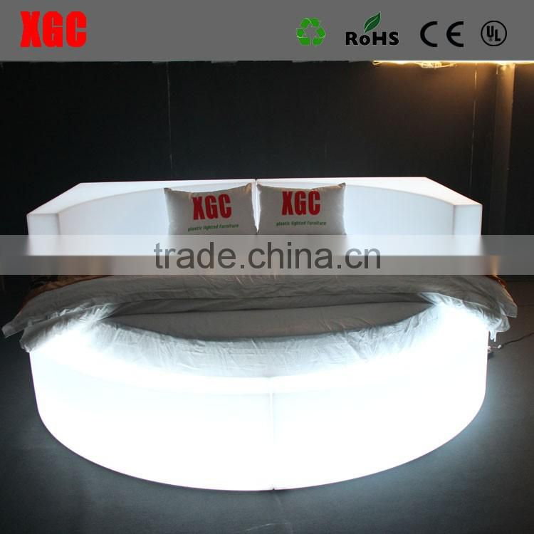 New design luxury sex bed de China fabrica de muebles hotel bed with 16 colors changing led light