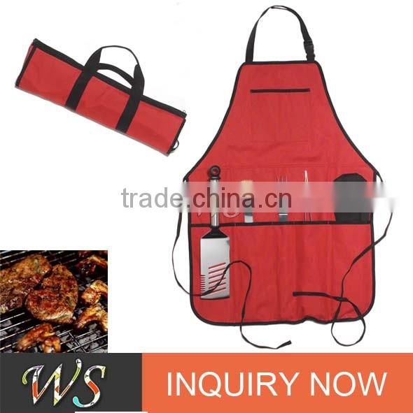 WS-BQ01 Outdoor stainless steel grill bbq tool set with apron portable bag