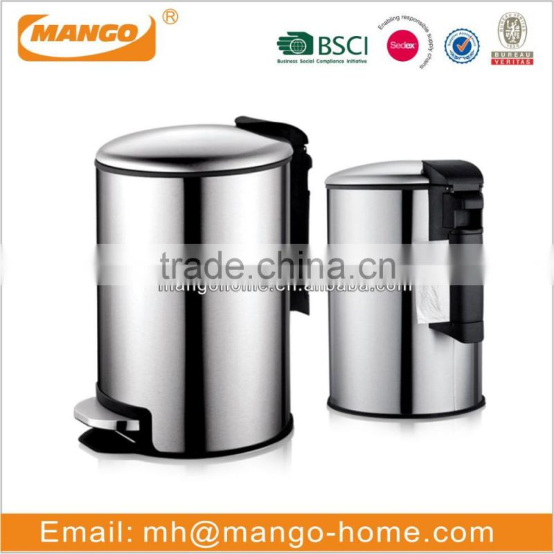 Stainless Steel Foot Pedal Push Opening Waste Bin