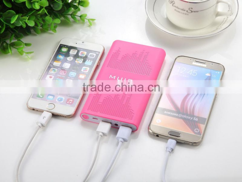 Promotional Dual Usb Music Style New Battery Power Bank 10000mah For Iphone, Samsung Smartphones