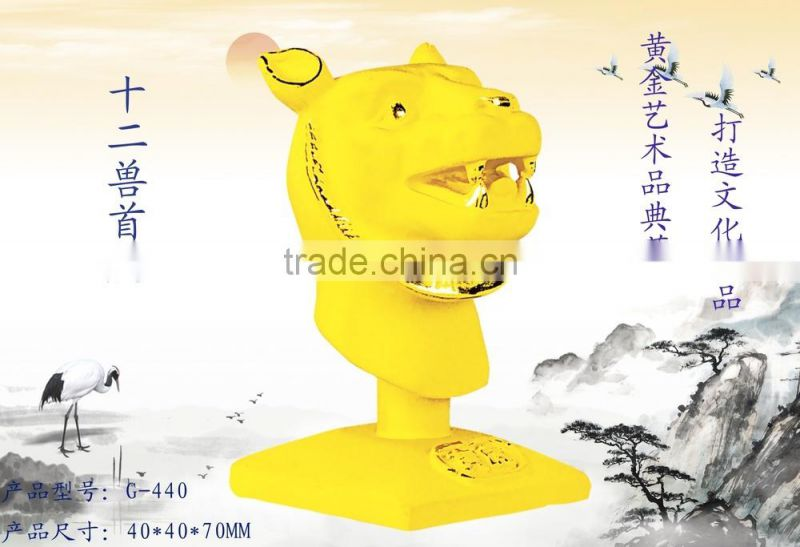 24k gold plated Chinese zodiac Rabbit Head