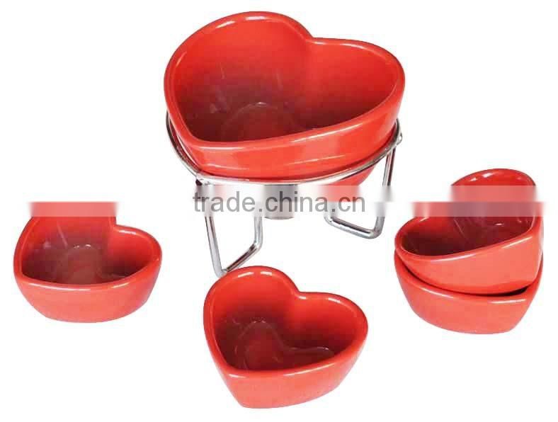 Mail order Ceramic Fondue Sets, Valentine-Day Fondue with Candle and forks