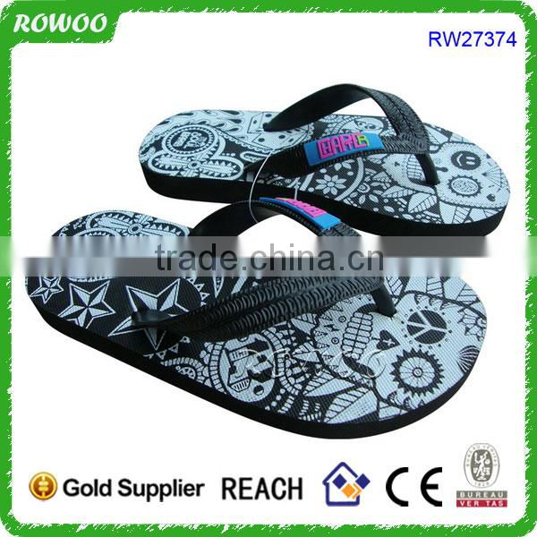 New printing kids flip flops thong black and white printing kids flip fllop kids custom logo flip flop