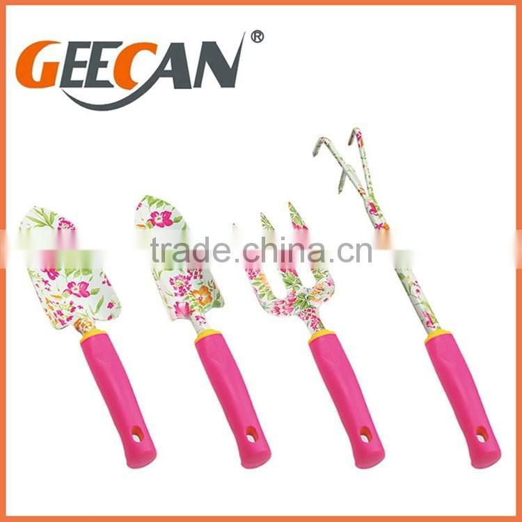 Carbon steel material garden tool set with plastic handle floral printing garden shovel,fork,rake