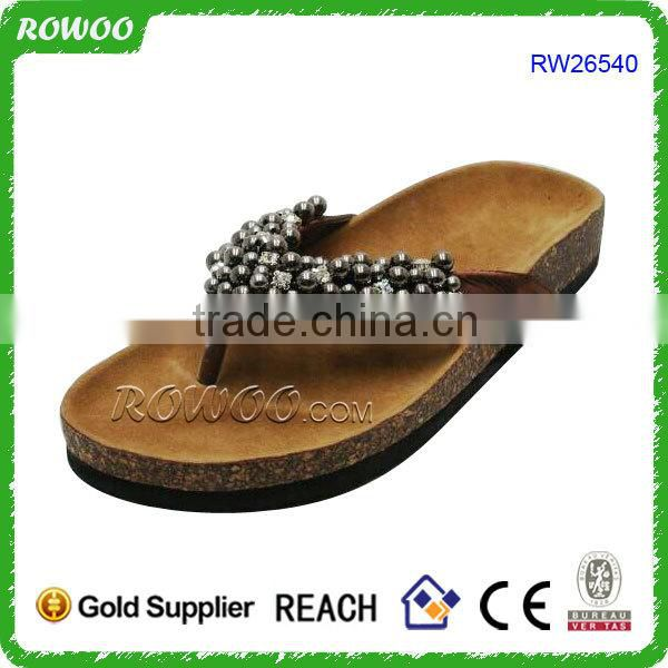 High Quality Summer Women Casual Cork Slippers with diamont,cork sandal shoes
