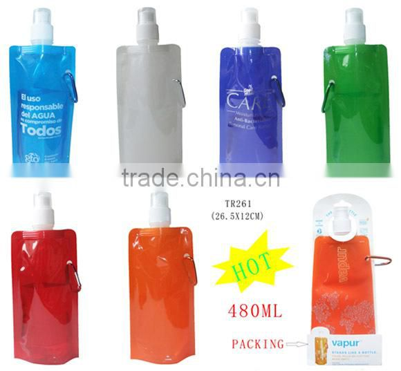 Foldable Water Drink Sports & Running Bottle All New Hydro Re Usable & Carabiner