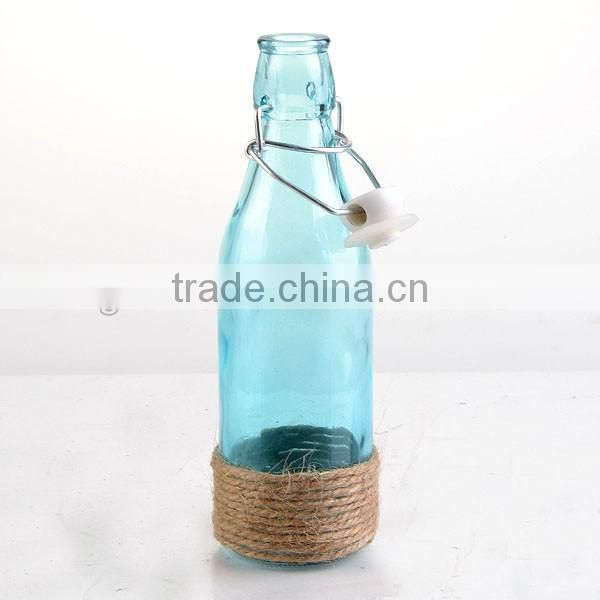 Spray blue cylinder bottle & candy color vases