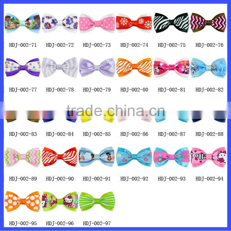 2015 New Designer Children Boutique Hair Accessories Hair Bows Grosgrain Ribbon Hair Bows With Clips Wholesale Kids Barrettes