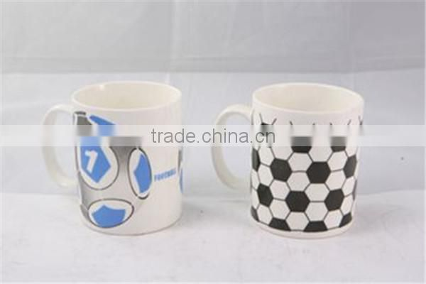 Factory direct sales ceramic white mug for sublimation with world cup football decal