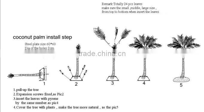 SJ20170004 hot sale outdoor decorative fake fiberglass Washington palm tree waterproof