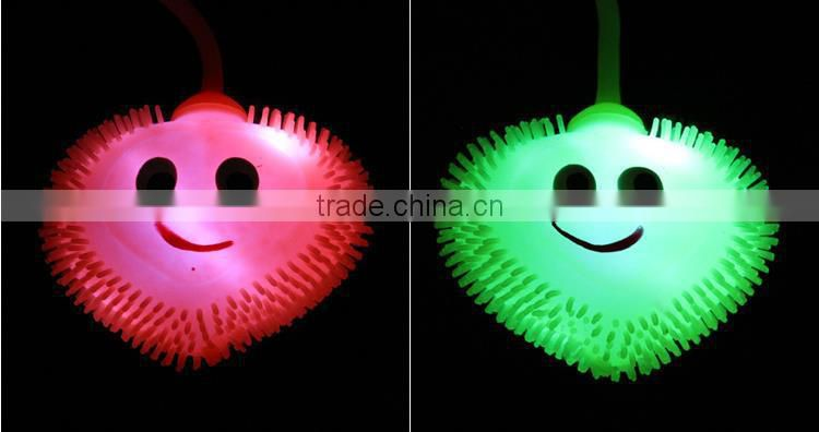 flashing light plush ball with yoyo smiley elastic force toy ball for kids