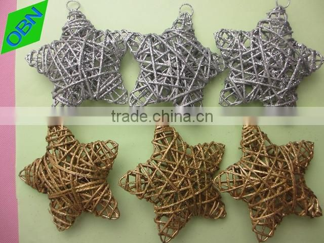 Wholesale christmas tree ornament wicker star festival decorations