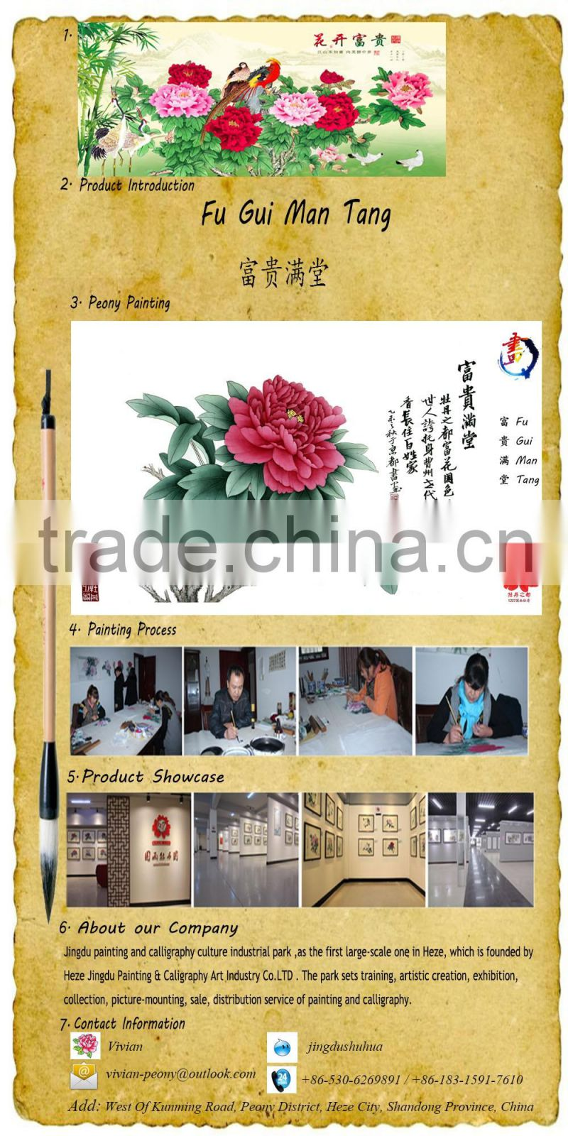 Chinese Classical weddings decoration house decor handmade art flower painting