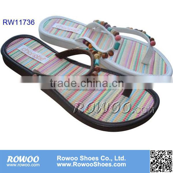 fashion high quality ladies straw beaded slippers