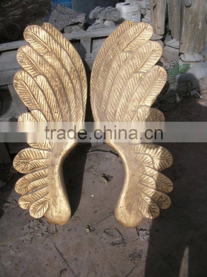 Antique wooden carving gold handmade angel wings for decoration