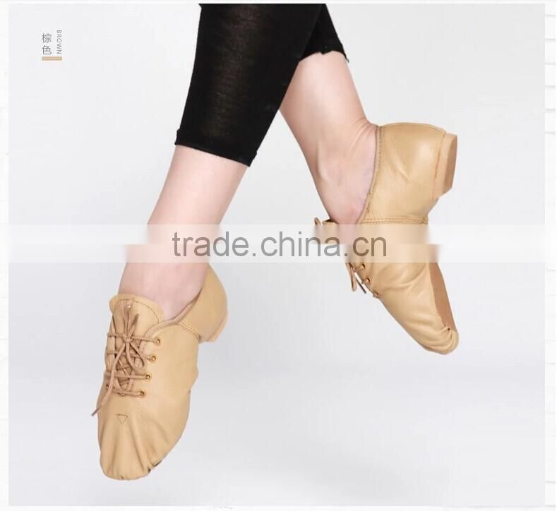 Wholesale genuine leather for shoes lace up split sole jazz dance shoes for women D004715