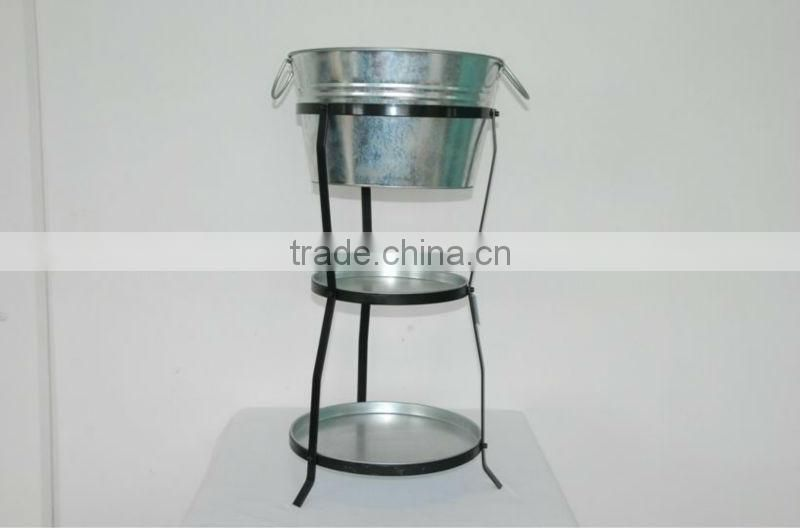 enamelware ice tray bucket with iron shelf cooler whit holders