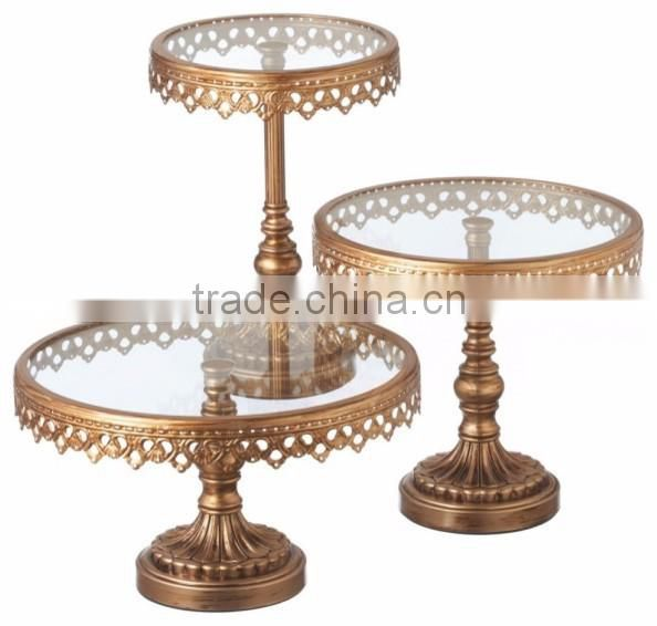 black & gold metal antique cake stand