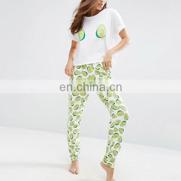 Guangzhou clothing manufacturers cotton pyjamas women avocado print