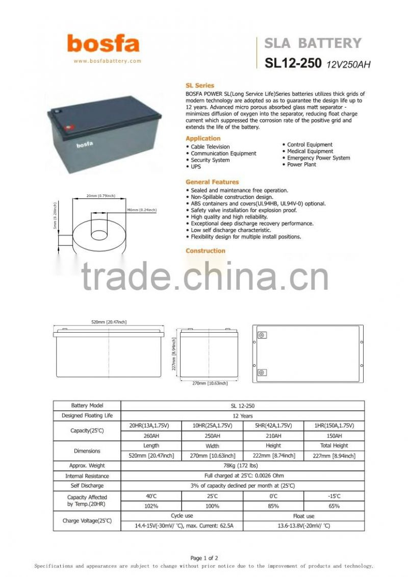 12v lead acid battery charger system 12v250ah serivice battery with ce ul certificate