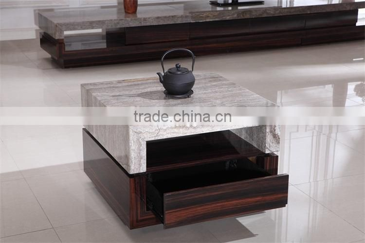 luxury living room furniture small sqaure marble top coffee table
