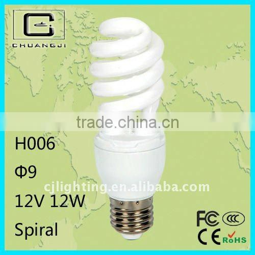 H006 halogen/mix-powder/tri-phorsphor spiral 12v small light bulb