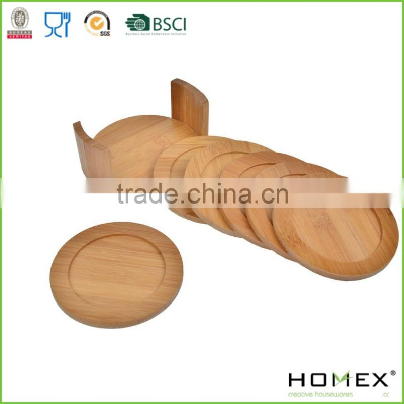 Round Bamboo Cup Mat Pad/Bamboo Trivet/Homex_FSC/BSCI Factory