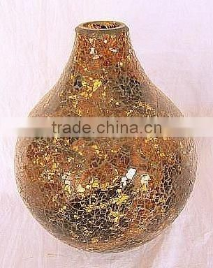 Golden Amber Art Crackle Glass Antique Chinese Teal Mosaic Mercury Glass Vases Wholesale